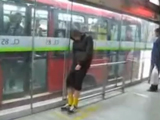 drunk guy at the train station prank